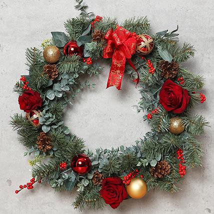Christmas Wreath with Roses: Christmas Wreath Dubai
