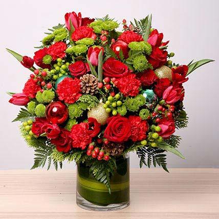Exotic Flower Vase Arrangement: Christmas Flowers
