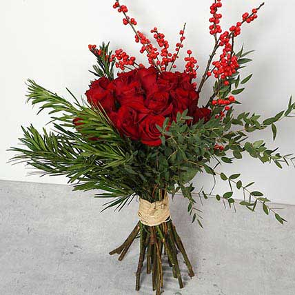 Red Roses and Ilex Berries Bouquet: Christmas Flowers