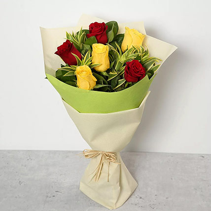 Red and Yellow Roses Bouquet: Flower Bouquets to Dubai
