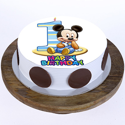 Bday Mickey Mouse Cake: 1st Birthday Cakes