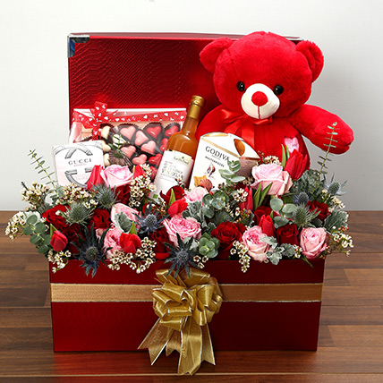 Delightful Hamper With Red Teddy Bear: Valentine Day Roses