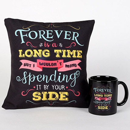 Forever By Your Side Printed Cushion and Mug Combo: Gifts Combos
