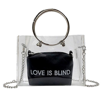 Love Is Blind Transparent Crossbody Bag: Handbags