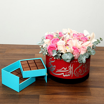 Pearl Decorated Roses and Chocolates Combo: Flowers and Chocolates for Mothers Day