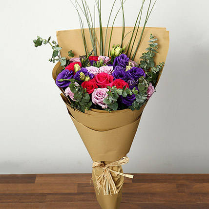 Purple and Pink Roses Bouquet: Thank You Flowers