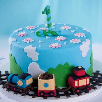 Train Theme Cake For 1st Birthday 3 Kg: 3D Cakes Dubai