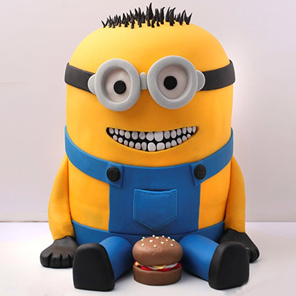 Lovable Minion With A Burger Cake 3 Kg: Designer Cakes  Delivery