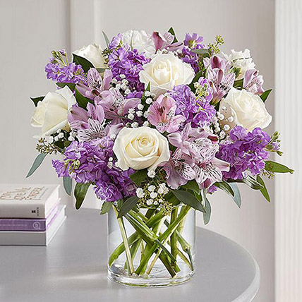 Purple and White Floral Bunch In Glass Vase: Birthday Gifts for Husband
