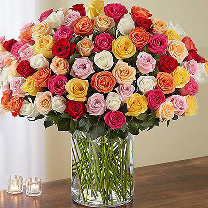 Bunch of 100 Mixed Roses In Glass Vase: Get Well Soon Flowers
