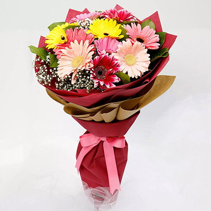 10 Gerbera Flowers Bouquet: Birthday Flower Bouquets