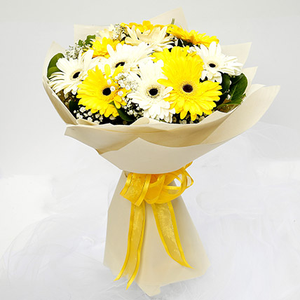 White and Yellow Gerbera Bouquet: Gifts for Men