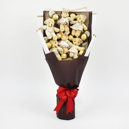Chocolates and Teddy Bear Heart Shaped Bouquet: Dubai Chocolates