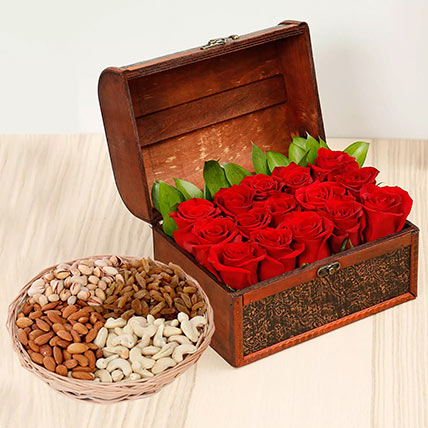 Rose Box Arrangement and Dry Fruits Combo: Karwa Chauth Gifts