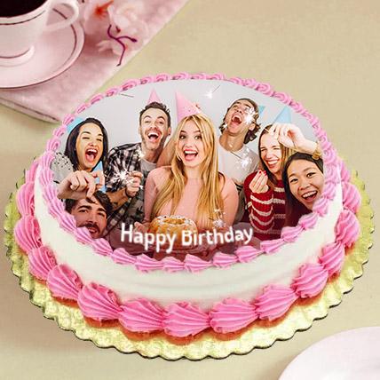 Delicious Birthday Photo Cake: Red Velvet Cake