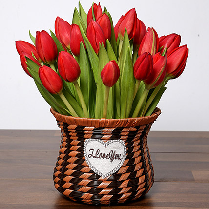 Blissful Red Tulips Basket: Tulips Flowers