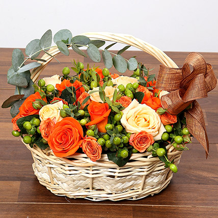Peach and Orange Rose Basket: Basket Arrangements