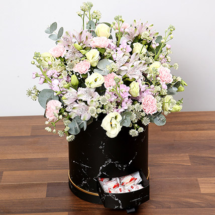 Pink and White Floral Box With Chocolates: Carnation Flower