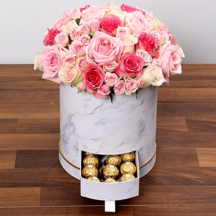 Stylish Box Of Pink Roses and Chocolates: Premium Gifts