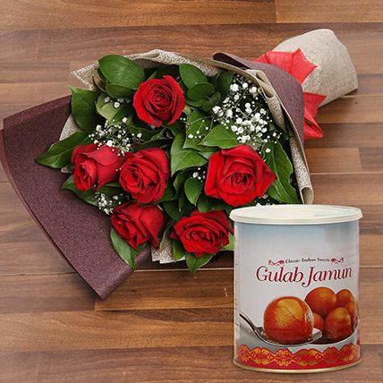 Red Roses Bouquet and Gulab Jamun Combo: Birthday Flowers With Sweets