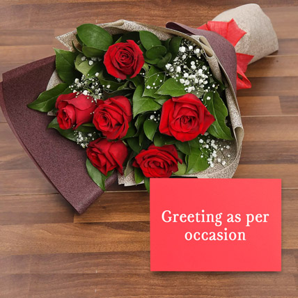 6 Red Roses Bouquet With Greeting Card: Anniversary Flowers and Greeting Cards