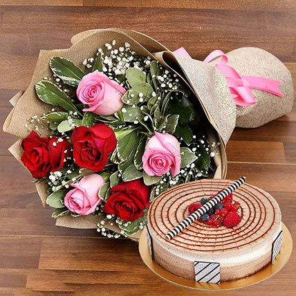Red and Pink Rose Posy With Triple Chocolate Cake: Flower Delivery for Colleague