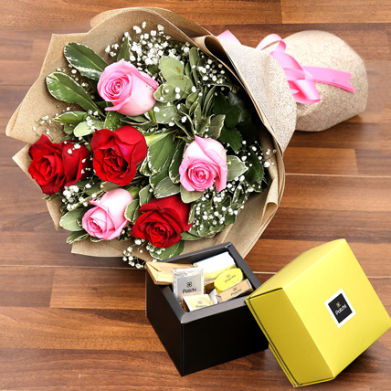 Mixed Roses Bouquet and Patchi Chocolate Combo: Flowers and Chocolates for Mothers Day