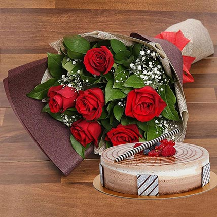 Triple Chocolate Cake and Red Roses Bouquet Combo: Gifts Combos