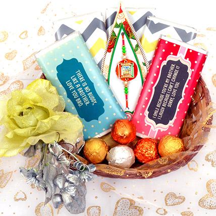 Elegant Basket with Chocolate Bars: Send Rakhi in Sharjah