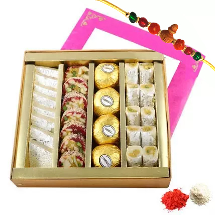 Rakhi with Mixed Sweets Box: Rakhi
