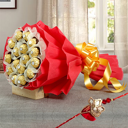 Chocolate bouquet with Rakhi: Rakhi With Chocolates