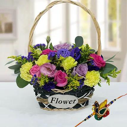 Rakhi with Flower Basket: Rakhi With Flowers