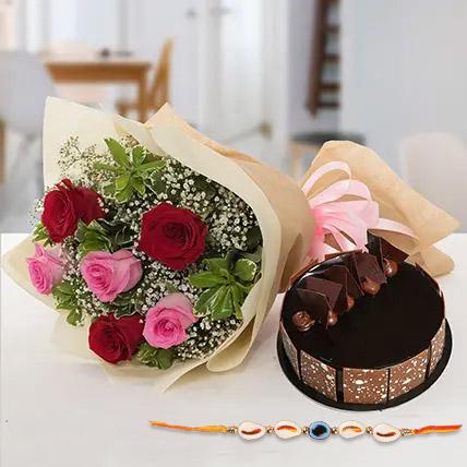 Sweet combo for bhaiya: Rakhi With Flowers