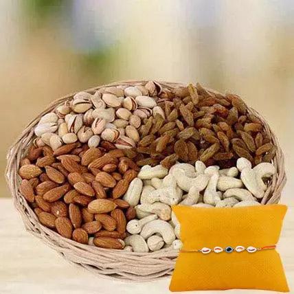 Mix dryfruits with Rakhi: Rakhi With Dryfruits