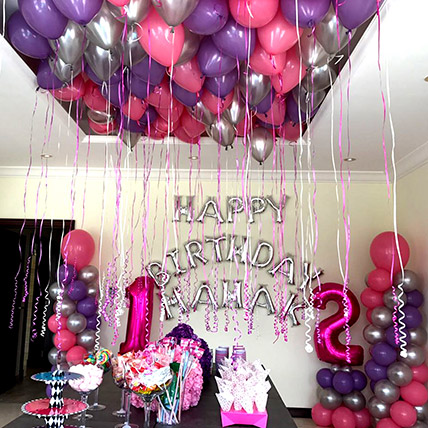 Balloons & Floral Birthday Surprise: Anniversary Gift For Husband