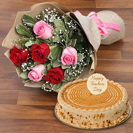 Rose Bouquet  and Butterscotch Cake For Teacher: Gifts On Teacher's Day