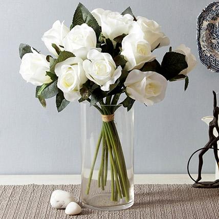 Artificial White Roses Vase: Artificial Flowers Dubai