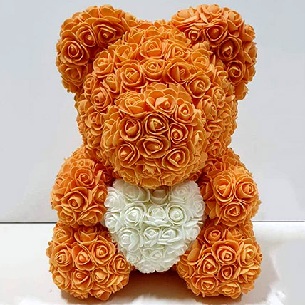 Artificial Orange and White Roses Teddy: Rose Teddy Bears