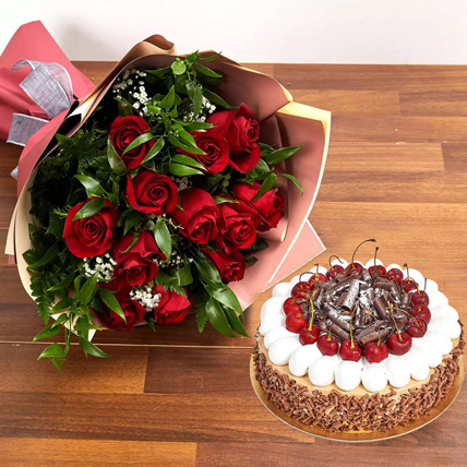 Dozen Roses with Blackforest Cake: Cake and Flowers