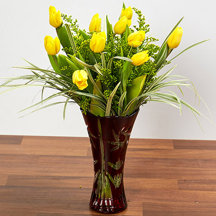 Bright Yellow Tulips In Maroon Vase: Birthday Gifts for Employees