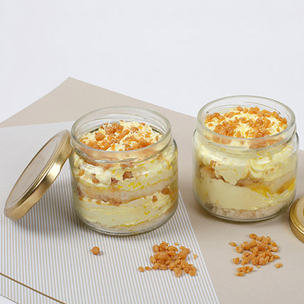 Set of 2 Butterscotch Cakes In Jar: Cake In a jar