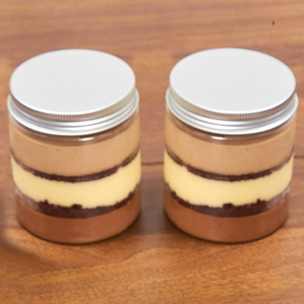 Set of 2 Chocolate Trio Jar Cake: Birthday Gifts for Employees