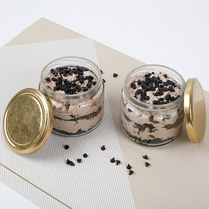 Set of 2 Yummy Chocolate Jar Cakes: Chocolate Cakes