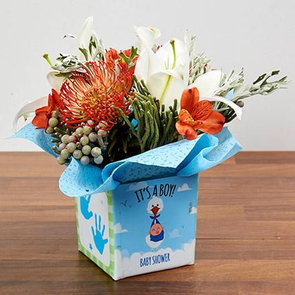 Vase Arrangement Of Oriental Lilies And Cordifolium: Newborn Baby Gifts