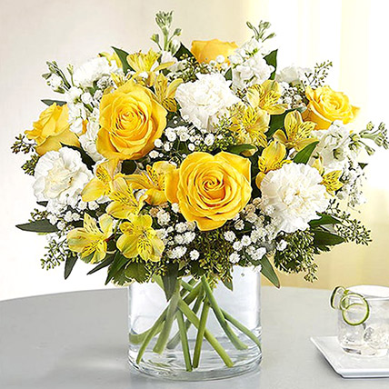 Yellow and White Mixed Flower Vase: Fathers Day Flowers to Ras Al Khaimah
