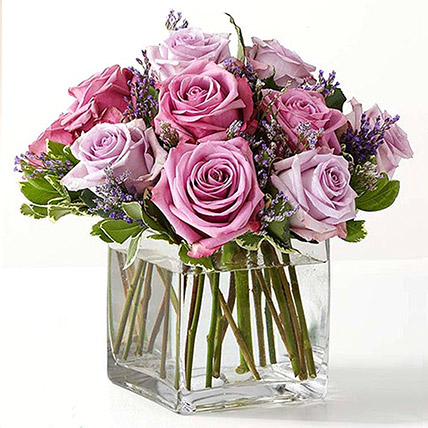 Vase Of Royal Purple Roses: Anniversary Flower Arrangements
