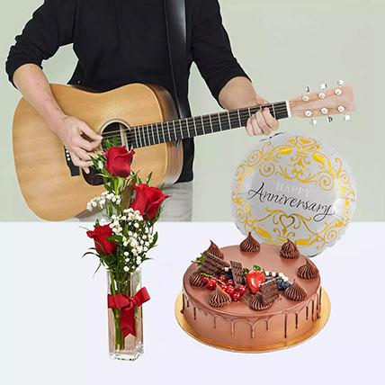 Delightful Anniversary Surprise: Flowers & Guitarist Service