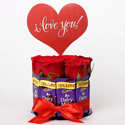 Red Roses Dairy Milk Arrangement: Karwa Chauth Gifts