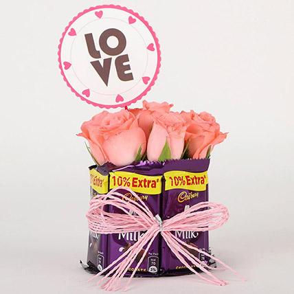 Chocolatey Love Arrangement: Karwa Chauth Gifts