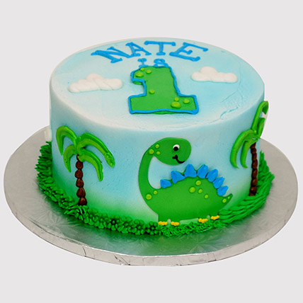 Cute Cartoon Dinosaur Cake: 1 year birthday cake